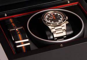 Tudor Heritage Chronograph in its case with both the steel and fabric straps.